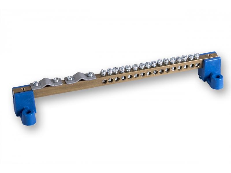 Listwa zaciskowa 16 otworów + 2 zaciski do 35mm2 z dwoma izolatorami